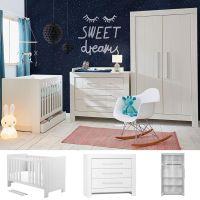 3-tlg. Babyzimmer CARLA weiß: Babybett 140x70cm + Wickelkommode + 2trg. Kleiderschrank