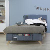 Bopita Boxspringbett LYNN für Teens Denim blau, mit Betttaschen und Matratze 120x200cm