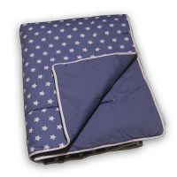 Kindertagesdecke / Plaid STERN, 100% Baumwolle, 125x210cm, jeans-blau