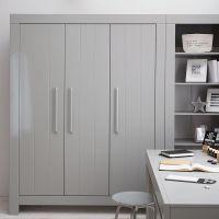 3-türiger Kleiderschrank CARLA MDF grau, Soft Close, 156,2 x 56 x 204,8cm