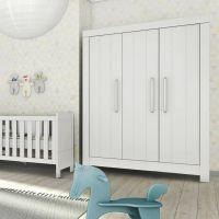 3-türiger Kleiderschrank CARLA MDF weiß, Soft Close, 156,2 x 56 x 204,8cm