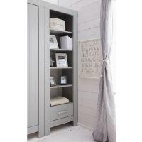 Bücherregal CARLA Regal grau, 5 Fächer, 1 Schublade mit Soft Close, 69,8 x 45 x 204,8cm