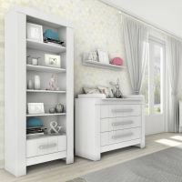 Bücherregal CARLA Regal weiß, 5 Fächer, 1 Schublade mit Soft Close, 69,8 x 45 x 204,8cm