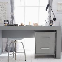 Schreibtisch Container CARLA MDF grau, 2 Schubladen mit Soft Close, 48x52x61,8cm