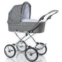 HESBA Kinderwagen CLASSICA Leinen grau, Innenstoff Sterne, feste Wanne, SL250 Schlauchlose Räder schwarz