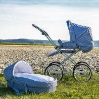HESBA Kombi-Kinderwagen CONCEPTO blau gesteppt - Innenstoff Sterne grau, mit Tragetasche, SL300 Schlauchlose Räder schwarz
