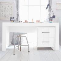 Schreibtisch Container CARLA MDF weiß, 2 Schubladen mit Soft Close, 48x52x61,8cm
