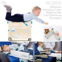 JETKIDS Bedbox BLAU - 3in1 Flugzeug Bett, Aufsitz-Koffer 20l Stauraum - Nur 3kg Eigengewicht