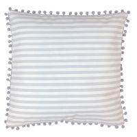 Kissenhülle gestreift grau-weiß mit Pompoms 40x40cm von JaBaDaBaDo
