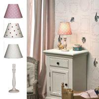 Kindertischlampe PUNKTE + Fuß SVEA, Baumwolle / Holz, E14