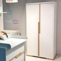 2-türiger Kleiderschrank SCANDI weiß - Buche Massivholz, Soft Close, 98,5x56x195cm