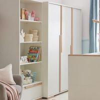 3-türiger Kleiderschrank SCANDI weiß - Buche Massivholz, Soft Close, 145,5x56x195cm