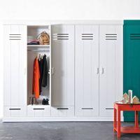 Kleiderschrank CONNECT-SPIND, Woood, 3-türig, 3 Schubladen, Holz Kiefer, weiß