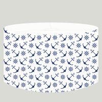 DANNENFELSER Hängelampe AHOI Lampenschirm Textil weiß, Anker und Steuer dunkelblau Ø 35cm