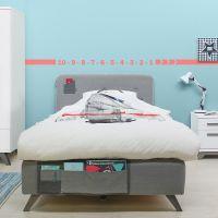 Bopita Boxspringbett LEVI für Teens grau, mit Betttaschen und Matratze 120x200cm