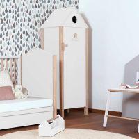 1-türiger Schrank NINO Kleiderschrank in Hausform weiß - natur Zedernholz