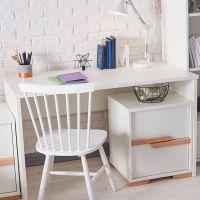 Schreibtisch mit Container SCANDI, 2 Schubladen mit Soft Close, weiß - Buche