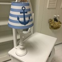DANNENFELSER Tischlampe ANKER blau-weiß gestreift mit Anker, Holzfuß weiß, Höhe 44,5cm