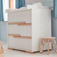 Wickelkommode SCANDI Kommode mit Wickelaufsatz weiß - Buche, 3 Schubladen Soft Close