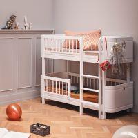 Oliver Furniture WOOD MINI+ halbhohes Etagenbett weiss, Höhe: 132cm, Liegefläche 68x162cm