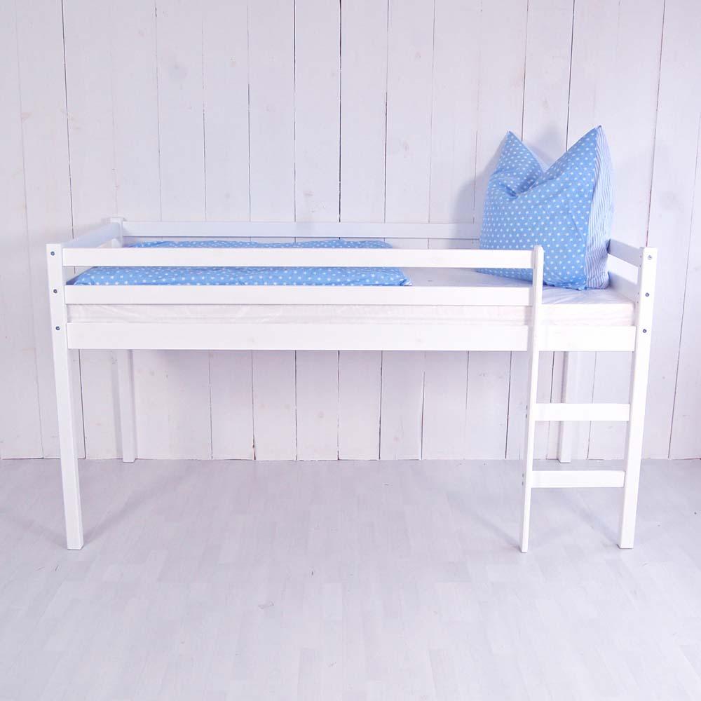 kinder mini hochbett olsen weiss massivholz gerade leiter h he 113cm dannenfelser kinderm bel. Black Bedroom Furniture Sets. Home Design Ideas