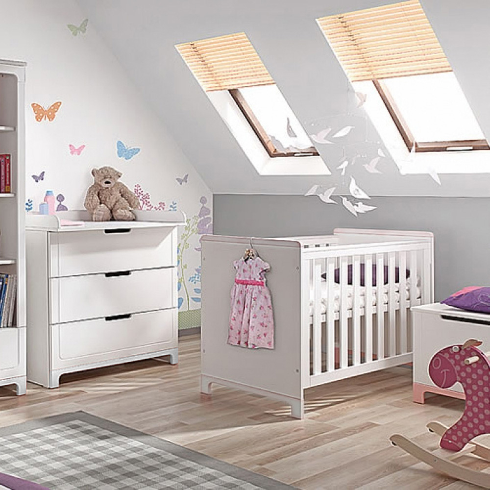 2 tlg set mini wickelkommode babybett umbaubar kinderbett mini mit schlupfsprossen 70x140cm. Black Bedroom Furniture Sets. Home Design Ideas