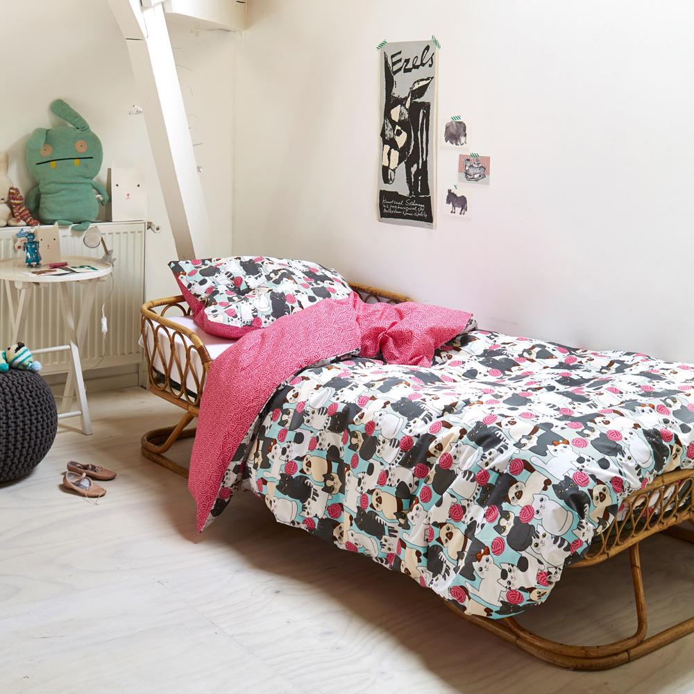 bettw sche zoe katze wendebettw sche bunt 100 baumwolle. Black Bedroom Furniture Sets. Home Design Ideas