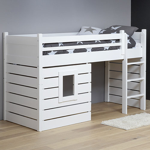 hochbett spielbett h ttenbett tarzan massivholz wei umbaubar 90x200cm dannenfelser. Black Bedroom Furniture Sets. Home Design Ideas