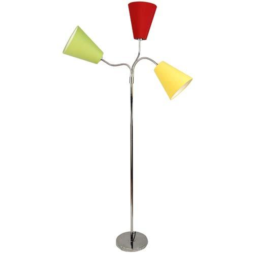 Stehlampe Jugendlampe Flexa 3 Bunte Lampenschirme Fuss Chrom Hohe