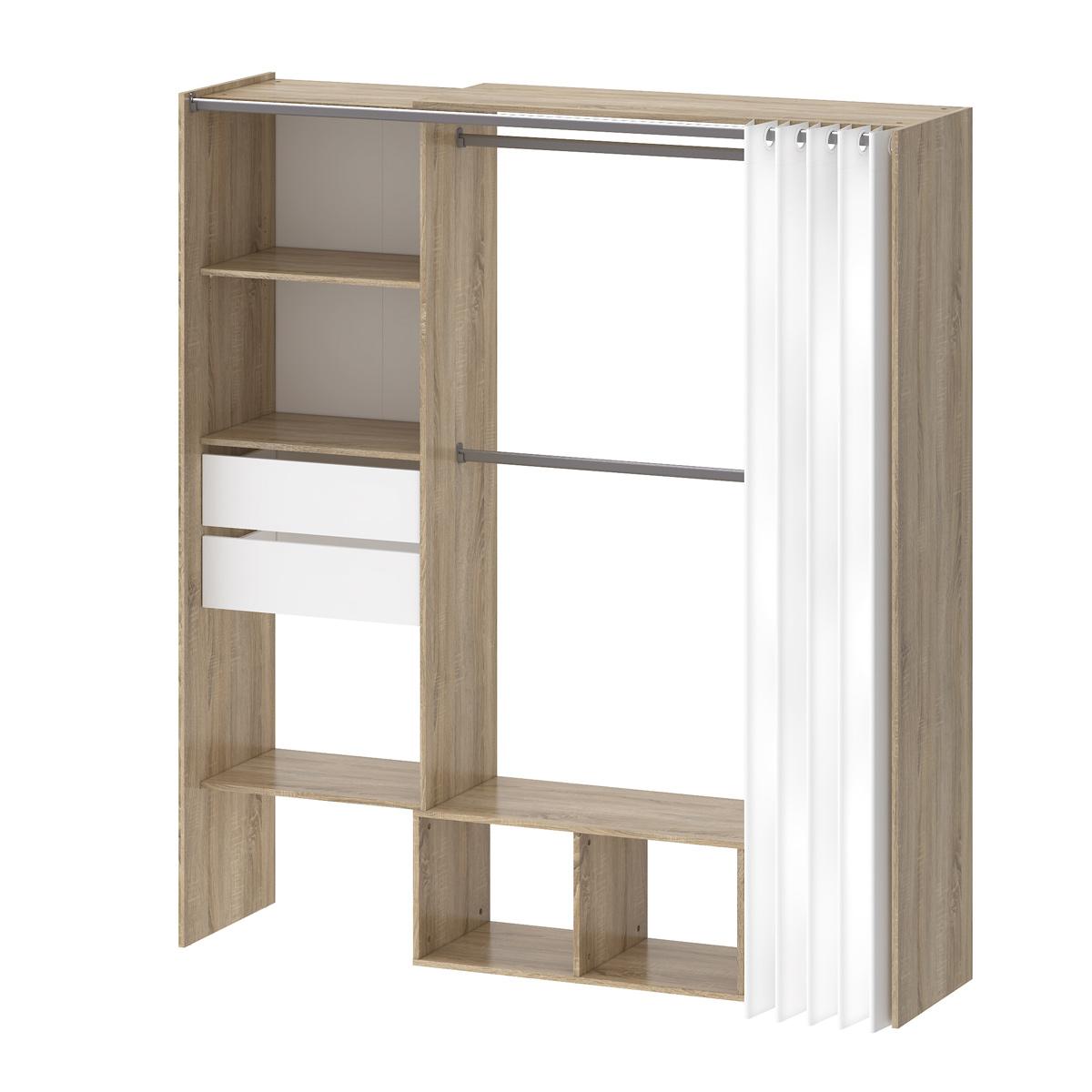 Garderoben-Schrank Regal TRIXX Eiche Struktur weiß 180x200cm ...