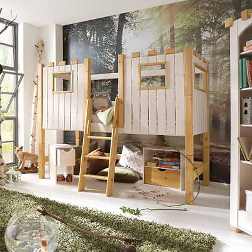 abenteuer hochbett spielbett ritterburg massivholz 90x200cm dannenfelser kinderm bel. Black Bedroom Furniture Sets. Home Design Ideas