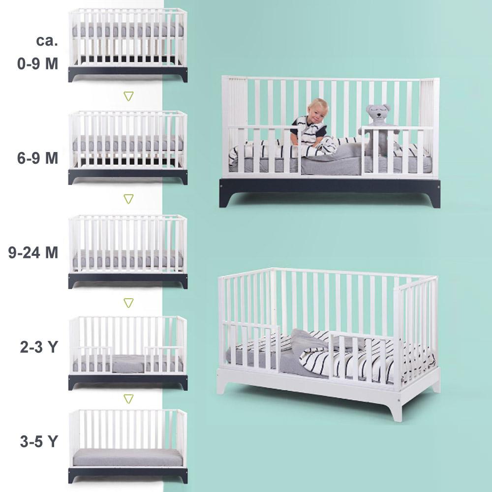 Mitwachsendes babybett kinderbett juniorbett navy 70x140cm 0 6 jahre g nstig online for Mitwachsendes kinderbett