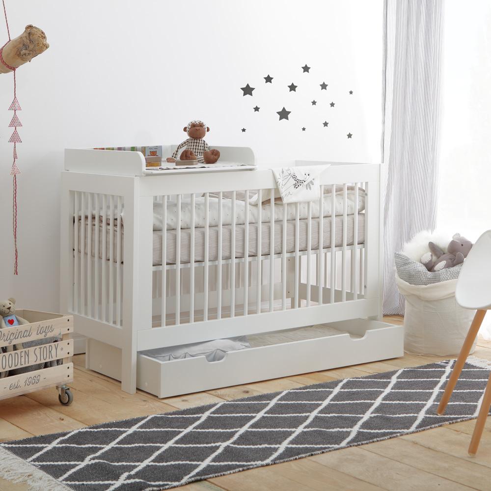 babybett raumwunder mit wickelaufsatz wei 120x60cm schlupfsprossen umbaubar dannenfelser. Black Bedroom Furniture Sets. Home Design Ideas