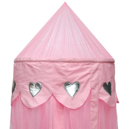 betthimmel baldachin silver hearts rosa rund dannenfelser kinderm bel. Black Bedroom Furniture Sets. Home Design Ideas