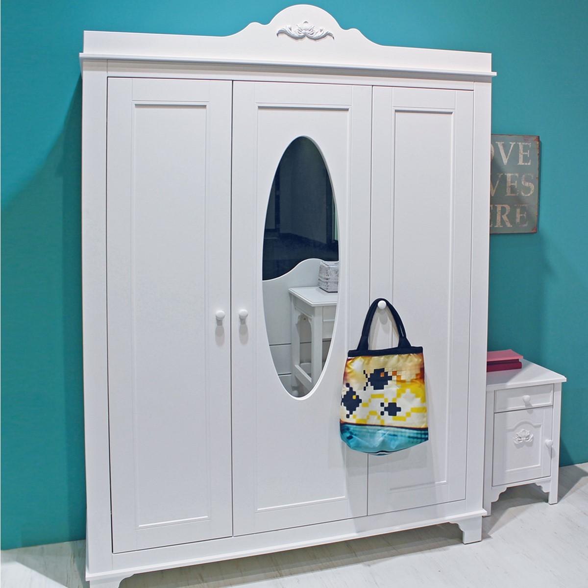 bopita 3 t riger kleiderschrank mit spiegel romantic wei dannenfelser kinderm bel. Black Bedroom Furniture Sets. Home Design Ideas
