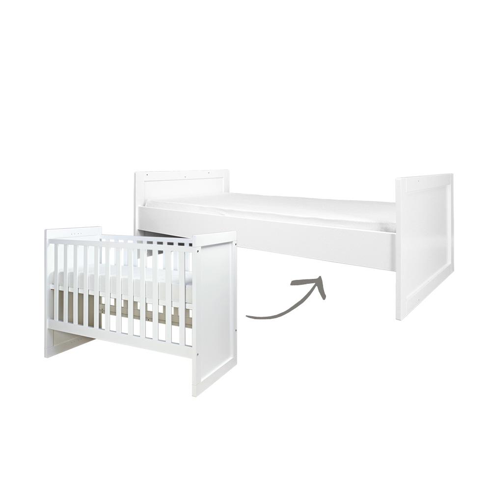 bopita babybett babyflex kombi umbaubett wei 60x120 90x200 dannenfelser kinderm bel. Black Bedroom Furniture Sets. Home Design Ideas