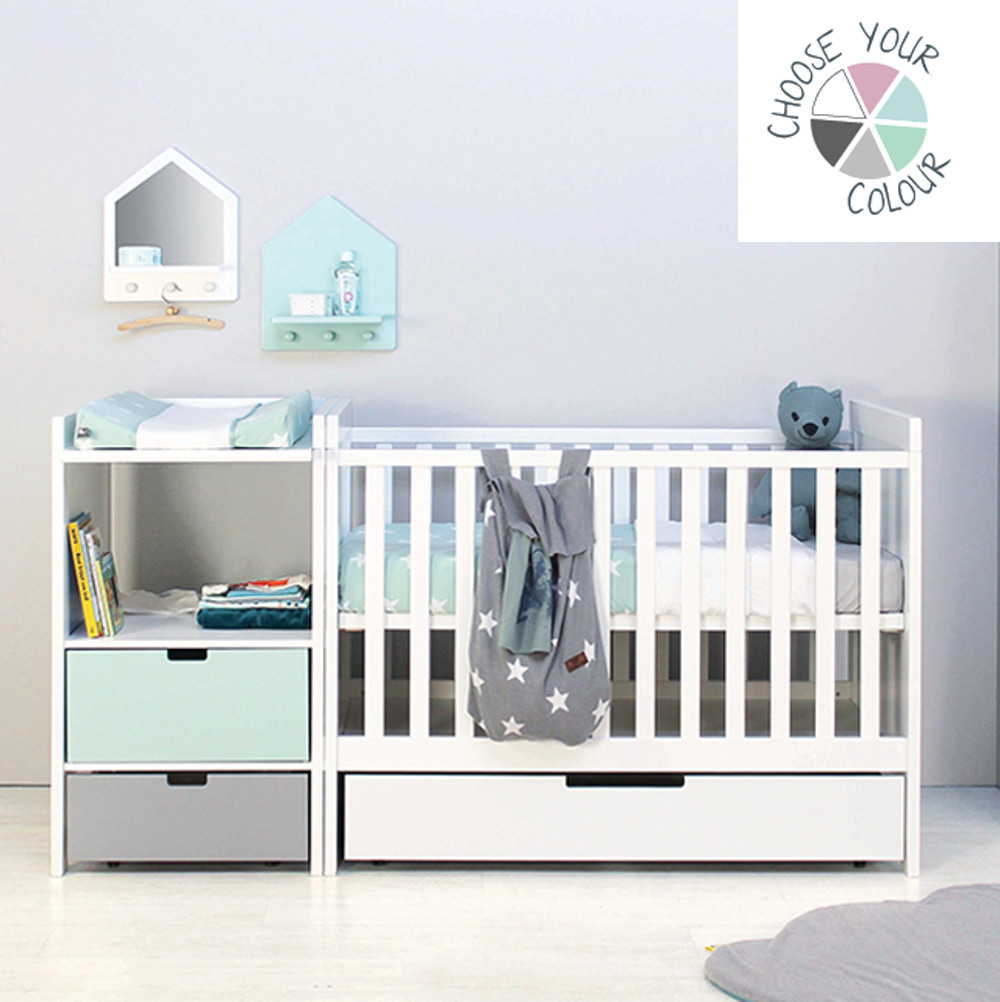 babybett umbaubar lumio gitterbett babybett kiefer massiv. Black Bedroom Furniture Sets. Home Design Ideas