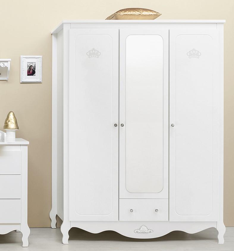 bopita 3 t riger schrank diva mit spiegel und schublade weiss dannenfelser kinderm bel. Black Bedroom Furniture Sets. Home Design Ideas