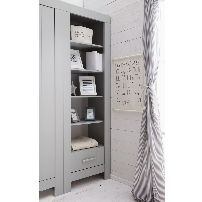 b cherregal carla regal grau 5 f cher 1 schublade mit soft close 69 8 x 45 x 204 8cm. Black Bedroom Furniture Sets. Home Design Ideas