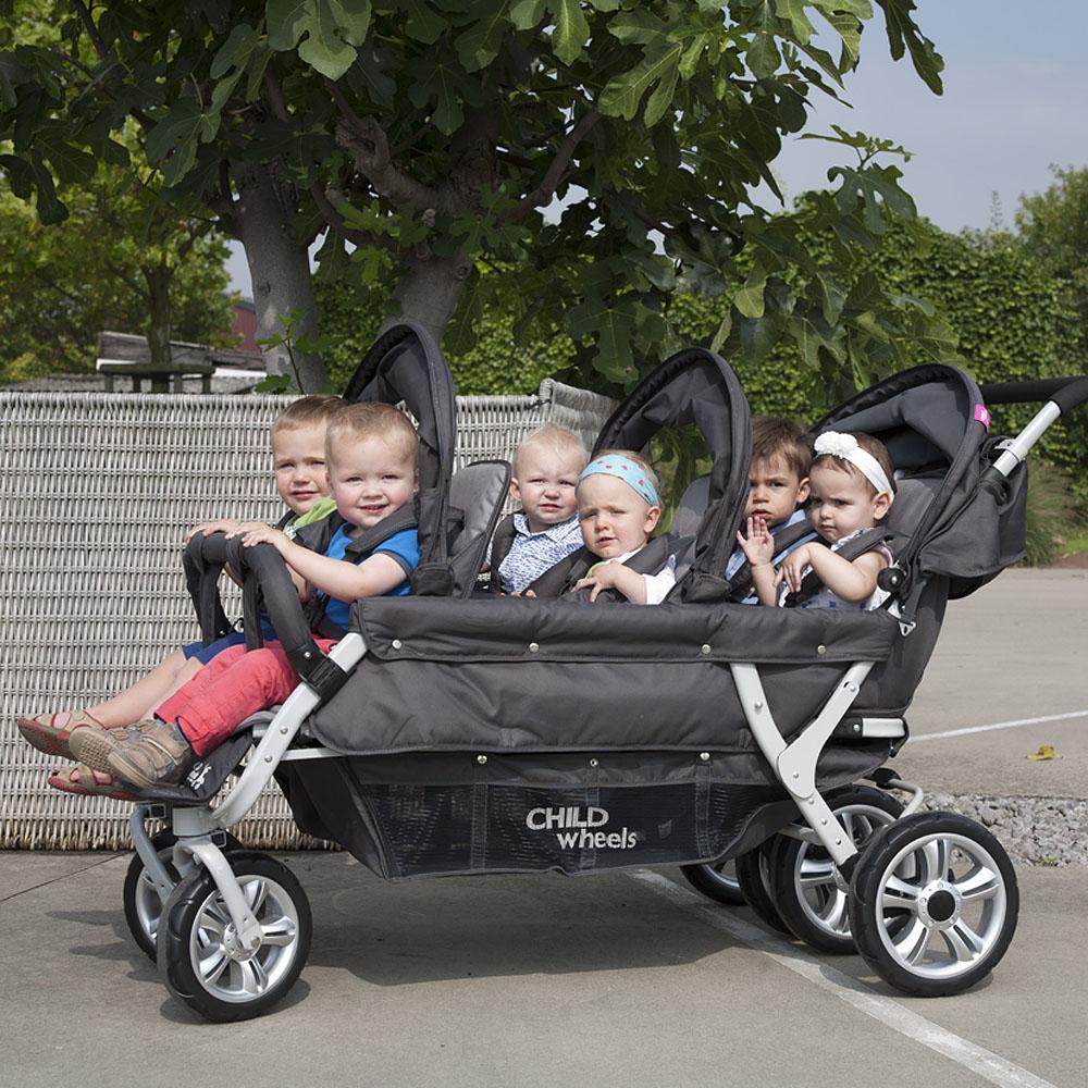 childwheels 6 sitzer kinderwagen six seater 2 f r kitas und tagesm tter inkl regenschutz. Black Bedroom Furniture Sets. Home Design Ideas