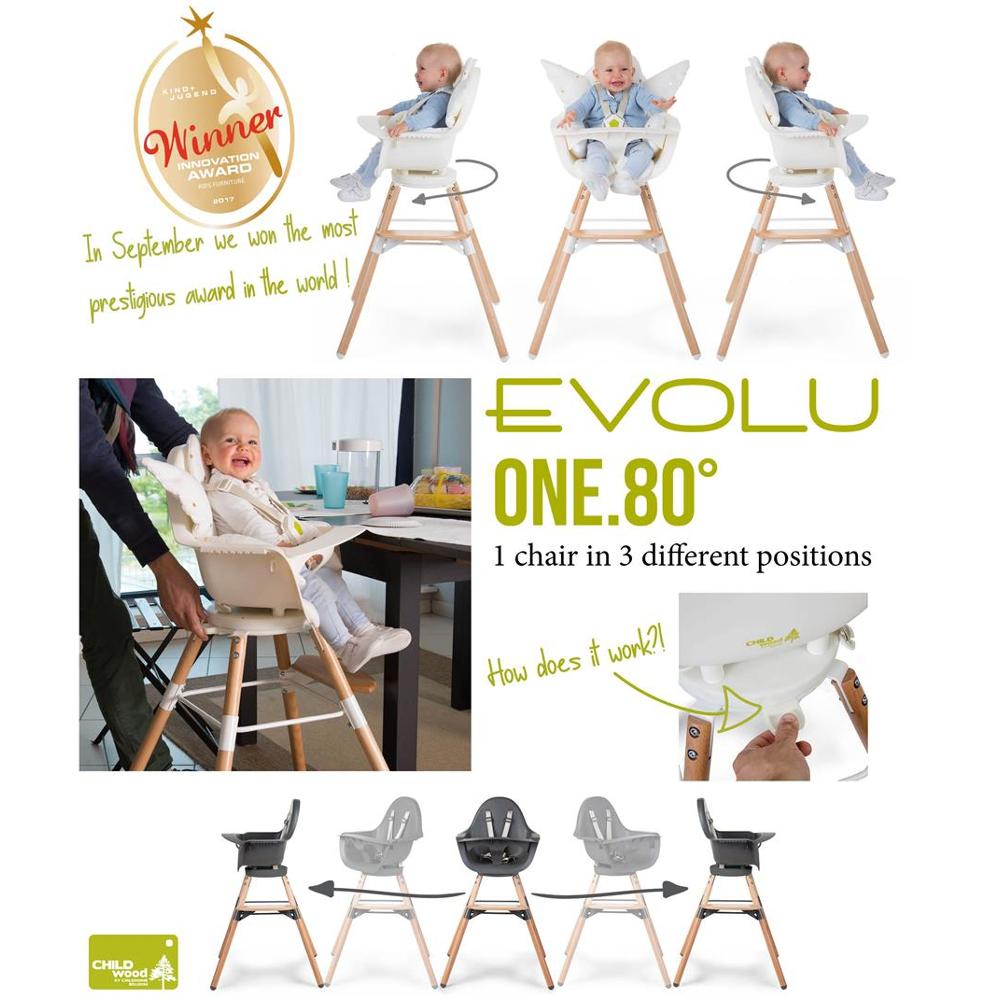 Childwood EVOLU ONE.80°drehbarer 2in1 Design Kinderhochstuhl ...