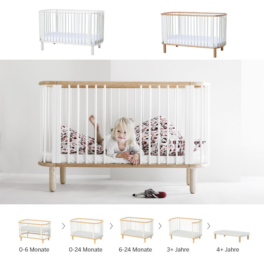 5 in 1 babybett kinderbett flexa baby massivholz. Black Bedroom Furniture Sets. Home Design Ideas