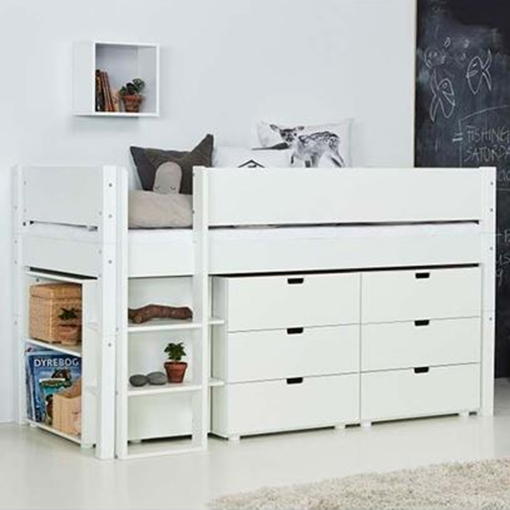 manis h hochbett arn mit stauraum wei 90x200cm h he 121cm dannenfelser kinderm bel. Black Bedroom Furniture Sets. Home Design Ideas
