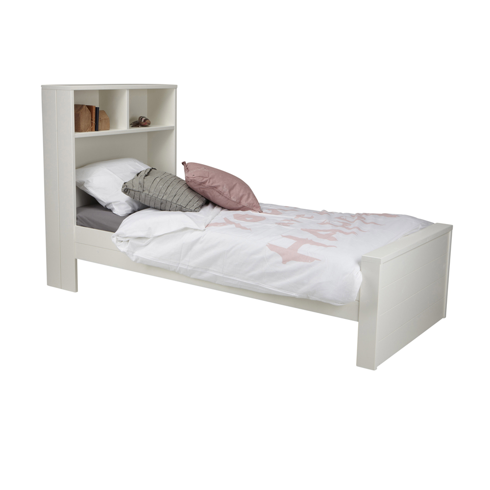 kinderbett maxi mit regal holz kiefer wei 90 x 200 cm. Black Bedroom Furniture Sets. Home Design Ideas