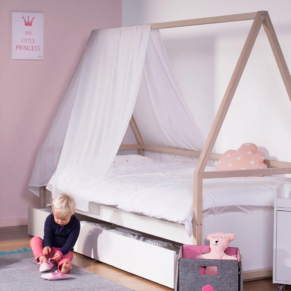 abenteuerbett spielbett wigwam inkl bettkasten wei. Black Bedroom Furniture Sets. Home Design Ideas