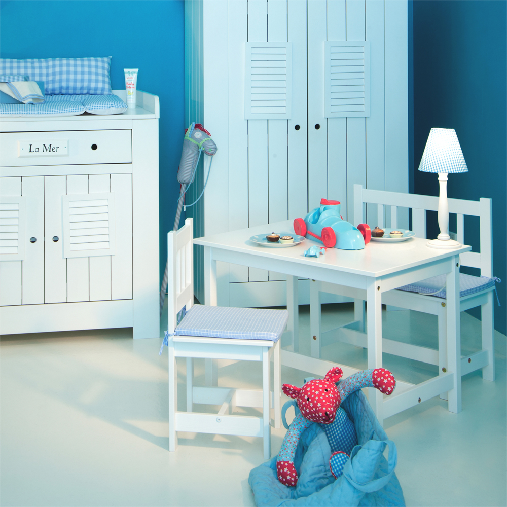 stabiler kindertisch la mer wei 78x55cm weiss. Black Bedroom Furniture Sets. Home Design Ideas