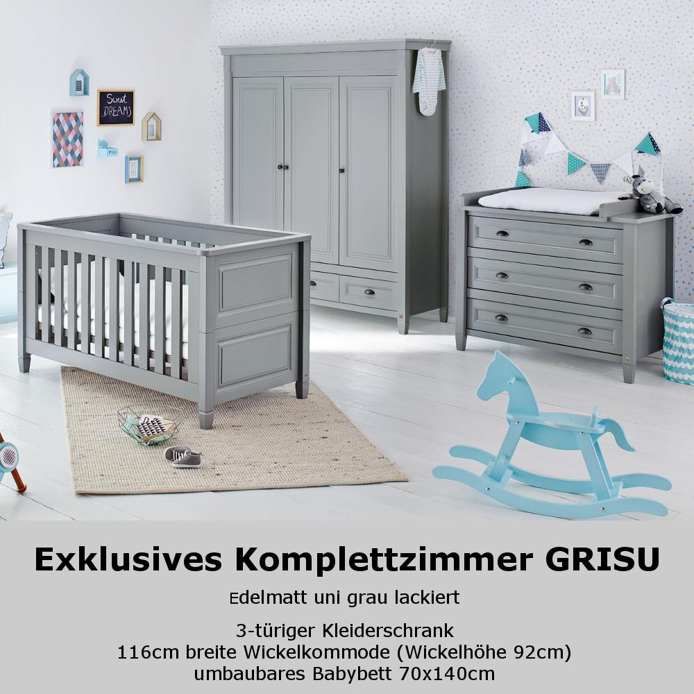 Kinderzimmer Grisu 3 Tlg Grau Kinderbett Wickelkommode