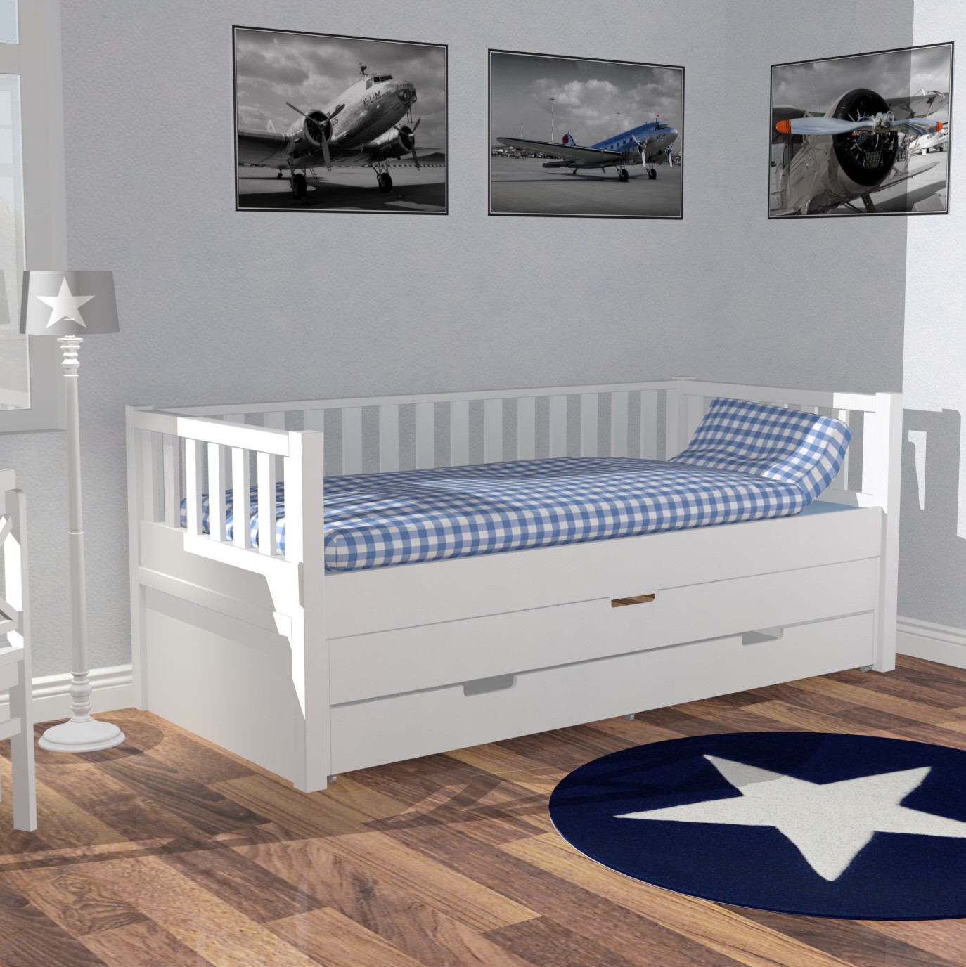 roomstar kojenbett ii inkl g stebett bettschublade 90x200cm weiss dannenfelser kinderm bel. Black Bedroom Furniture Sets. Home Design Ideas