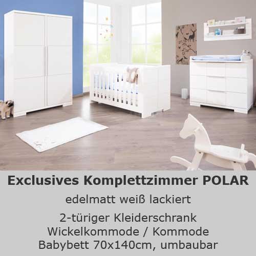 kinderzimmer polar, 3-tlg. edelmatt weiß, babybett, wickelkommode ... - Wickelkommode Erstausstattung Fur Kinderzimmer