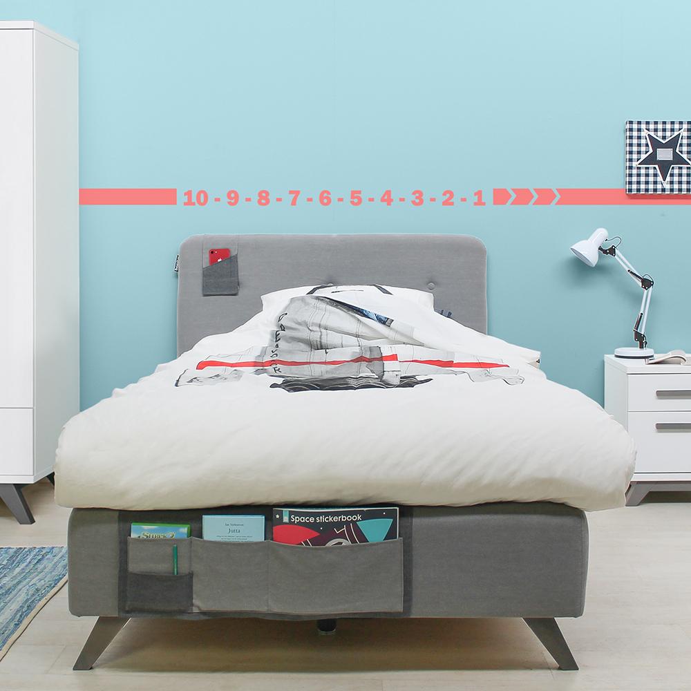 bopita boxspringbett levi f r teens grau mit betttaschen. Black Bedroom Furniture Sets. Home Design Ideas